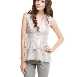 Nanette Lepore Ruffled Metallic Ethereal Top Sz 4